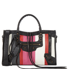 Striped Leather City Bag