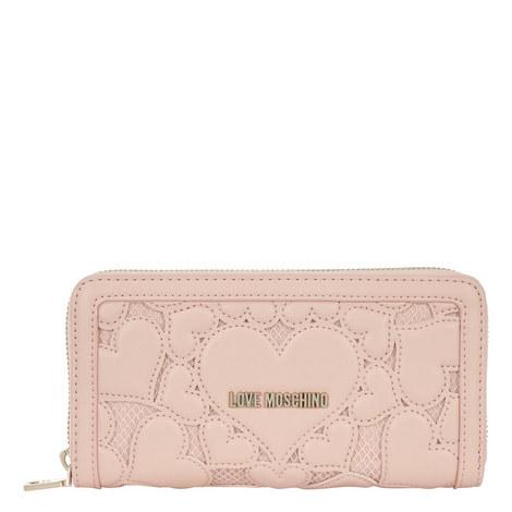 Zip-Around Heart Lace Wallet, ${color}