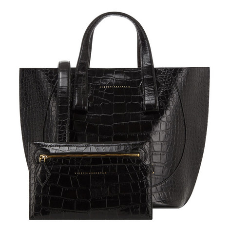 Croc Embossed Tulip Tote Small, ${color}