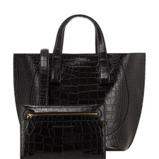 Croc Embossed Tulip Tote Small