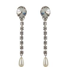 Long Crystal Pearl Drop Earrings