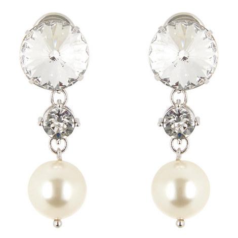 Crystal & Pearl Drop Earrings, ${color}