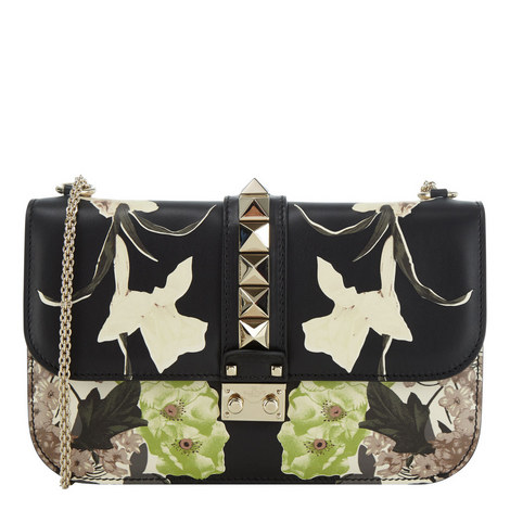 Floral Print Rockstud Shoulder Bag, ${color}
