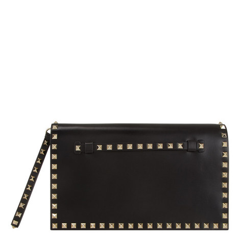 Rockstud Leather Clutch Large, ${color}