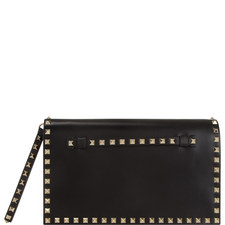 Rockstud Leather Clutch Large