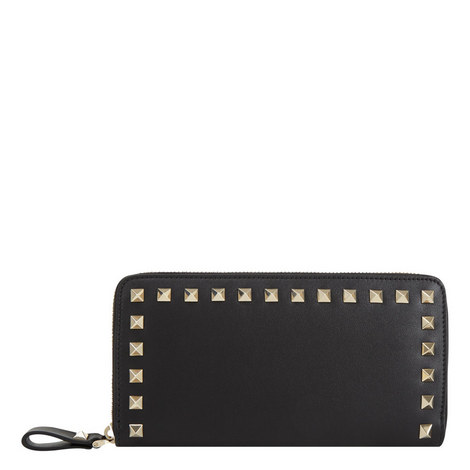 Rockstud Zip Around Leather Wallet, ${color}