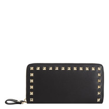 Rockstud Zip Around Leather Wallet