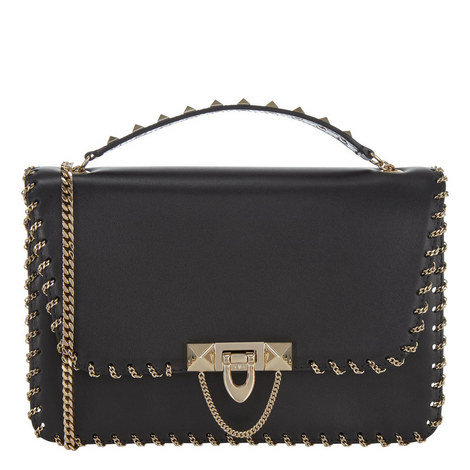 Demilune Chain Shoulder Bag Small, ${color}