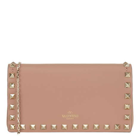 Rockstud Leather Chain Wallet, ${color}