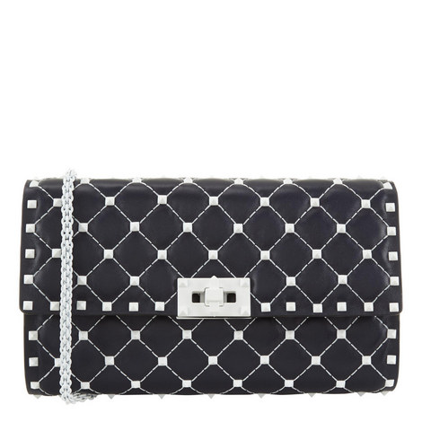 Free Rockstud Leather Clutch, ${color}