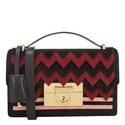 Aileen Lock Chevron Suede Shoulder Bag, ${color}