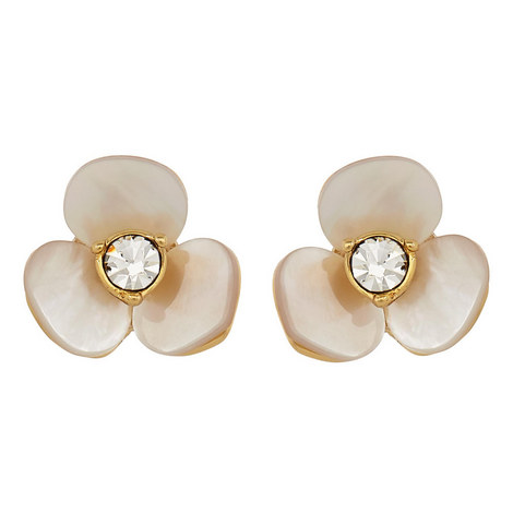Crystal Flower Earrings, ${color}