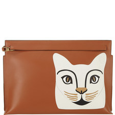Leather Cat Clutch Bag