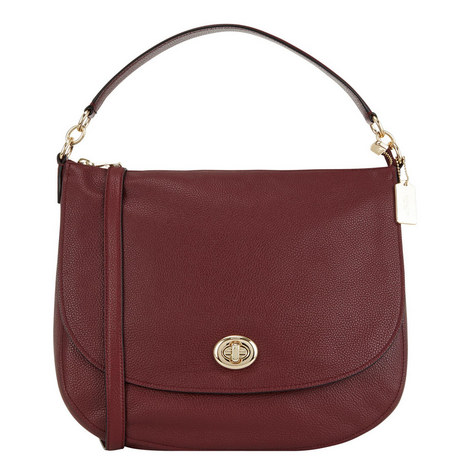 Turnlock Leather Hobo, ${color}