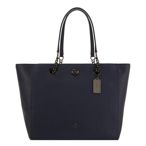 Turnlock Chain Strap Tote Bag, ${color}