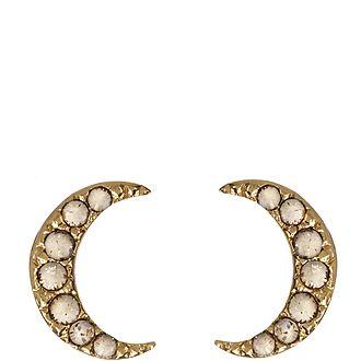 Crescent Moon Embellished Stud Earrings