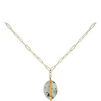 Aqua Resin Pendant Necklace