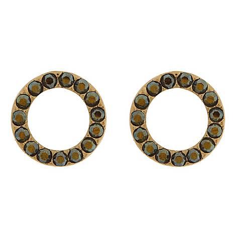 Crystal Embellished Circle Stud Earrings, ${color}
