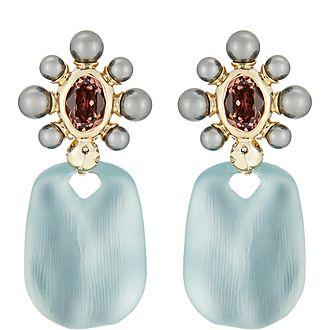 Byzantine Pearl Drop Clip Earrings