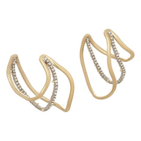 Orbit Wavey Hoop Earrings, ${color}
