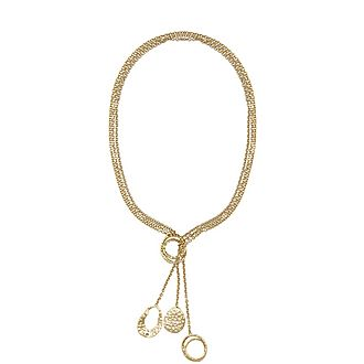 Hammered Coil Lariat Necklace