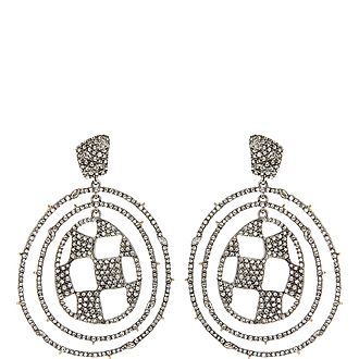 Pave Check Orbit Earrings