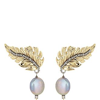 Feather Pearl Drop Earring