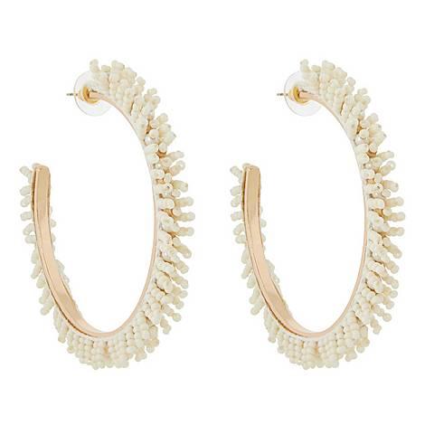 Ivory Seed Hoop Earrings, ${color}