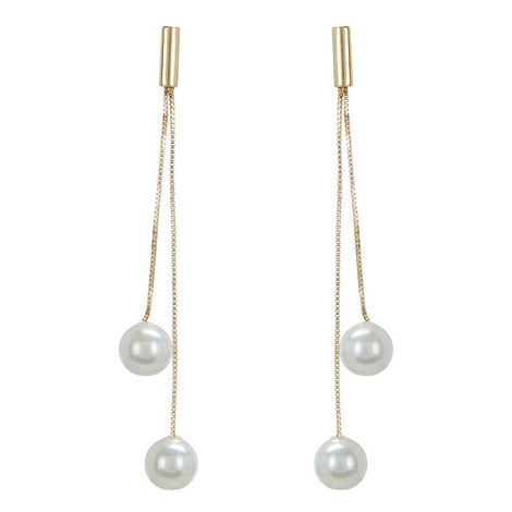 Double Pearl Drop Earrings , ${color}