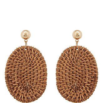 Rattan Drop Oval Earrings