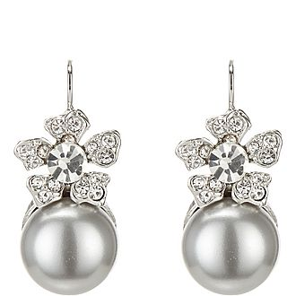 Crystal Grey Pearl Earrings
