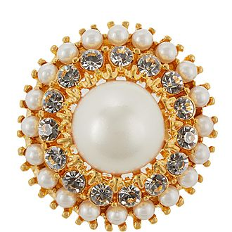 Faux-Pearl Crystal Ring