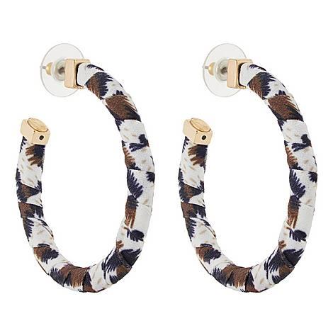 Fabric Hoop Earrings, ${color}