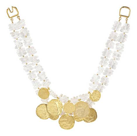 Clear Coin Collar Necklace, ${color}