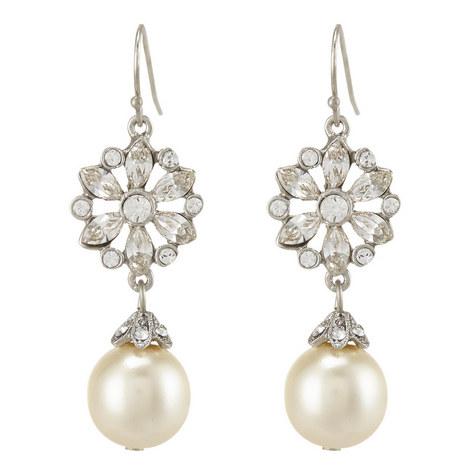 Pearl Drop Fish Hook Earrings, ${color}