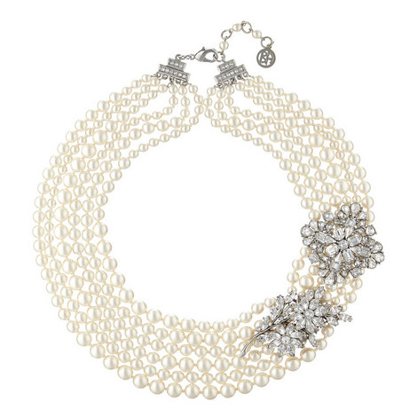 6 Row Pearl Crystal Necklace, ${color}