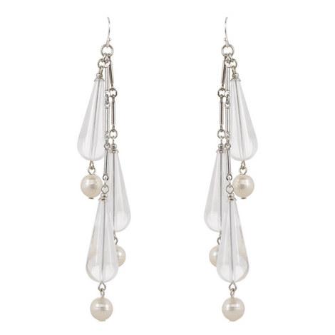 Chevron Pearl Drop Earrings , ${color}