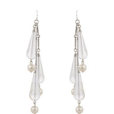Chevron Pearl Drop Earrings