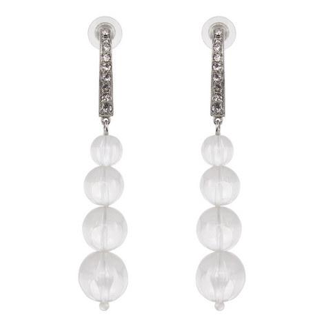 Clear Bead Drop Earrings , ${color}