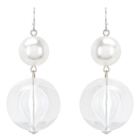 Clear Bead Drop Earrings, ${color}