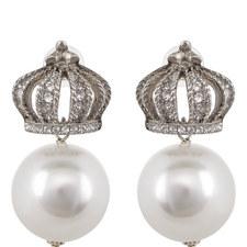 Crown Pearl Drop Earrings