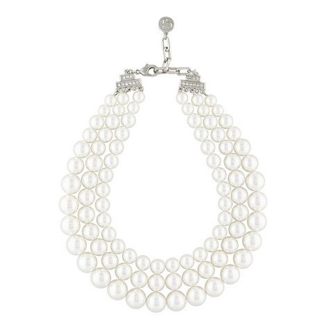 Three-Row Pearl Necklace, ${color}
