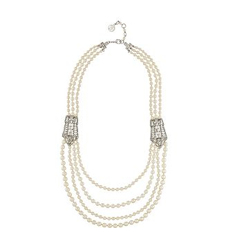 Four Row Crystal Pearl Necklace