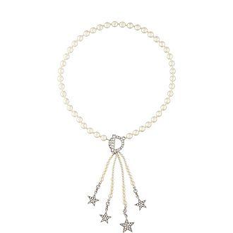 Crystal Pearl Star Tassel Necklace