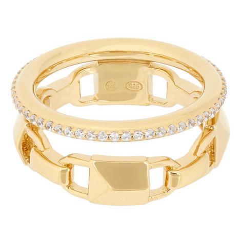 Mercer Link Pavé Halo Ring, ${color}