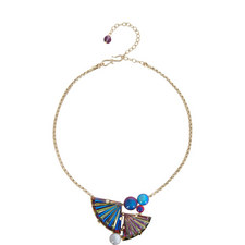 Glass Double Fan Pendant Necklace