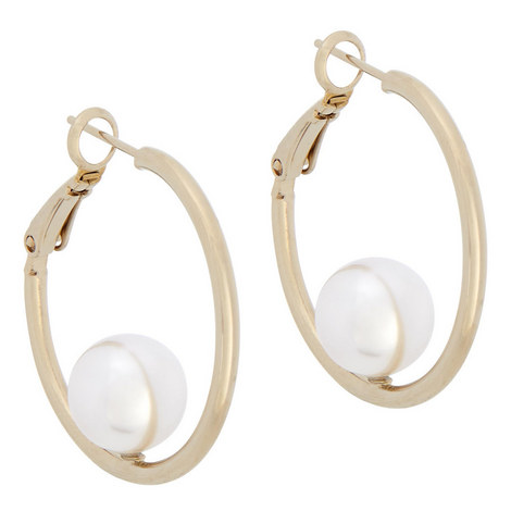 Pearl Hoop Earrings, ${color}
