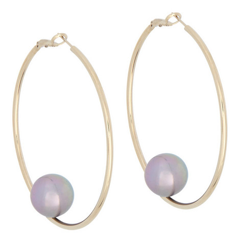Pearl Hoop Earrings, ${color}