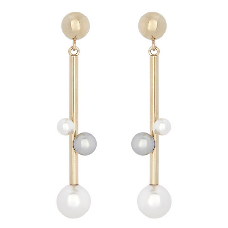 Drop Pearl Earrings, ${color}