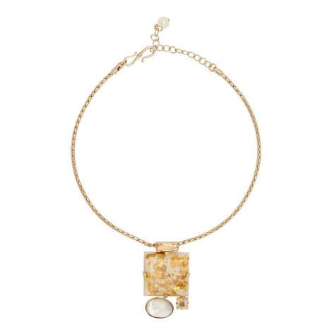 Mop Square Pendant Necklace, ${color}